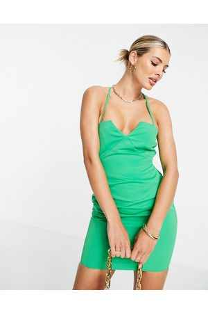 ASOS Structured mini dress with lace up back and square neck in green