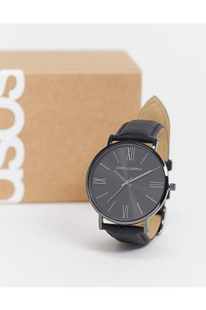 ASOS Muži Hodinky - Classic watch with saffiano strap in black