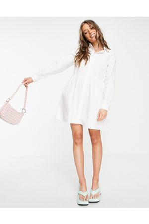 ASOS Ženy Volnočasové - Cotton mini smock shirt dress in white