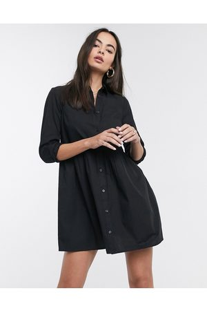 ASOS Cotton mini smock shirt dress in black