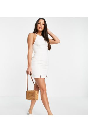 ASOS Ženy Volnočasové - ASOS DESIGN Tall soft denim halterneck slip dress in white