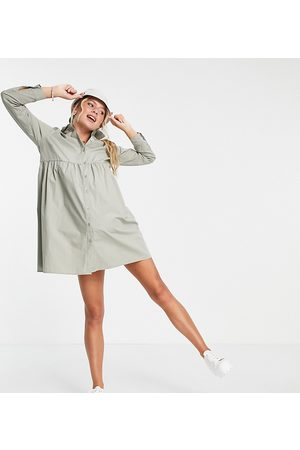ASOS Ženy Volnočasové - ASOS DESIGN Maternity cotton mini smock shirt dress in khaki-Green