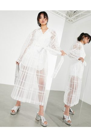 ASOS Organza check trench coat in white