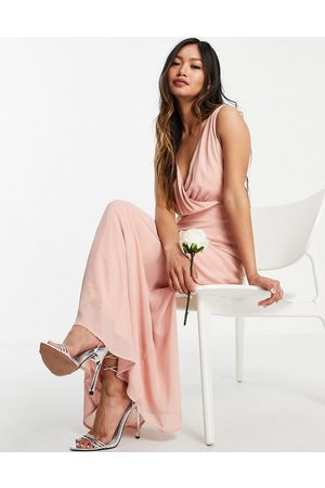 VILA Ženy Maxi - Bridesmaid wrap front midi dress with tie detail in pink