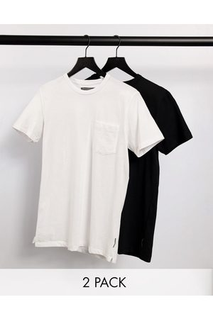 French Connection 2 pack pocket t-shirt in black white-Multi