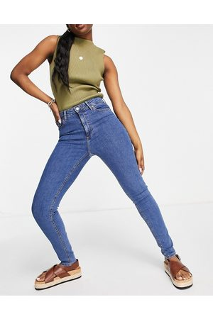 MANGO High waisted skinny jeans in blue