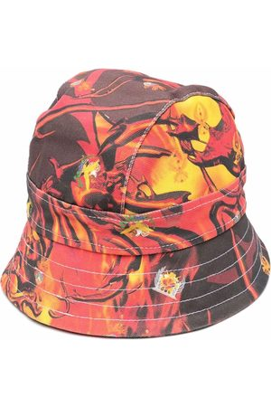 Liberal Youth Ministry Flame-print denim bucket hat