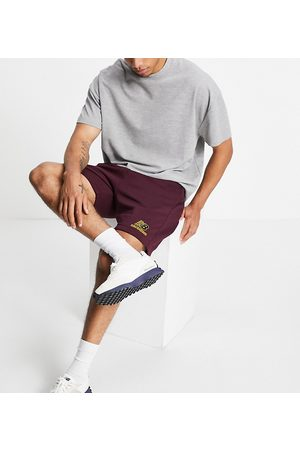 New Balance Logo sweat shorts in burgundy - exclusive to ASOS-Red