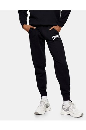 Topshop Ženy Tepláky - Courage slogan joggers in black-Brown