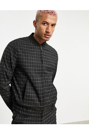 ASOS Muži Bombery - Smart bomber jacket co-ord in navy grid check-Black