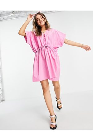 ASOS Ženy Volnočasové - Cotton mini smock dress in pink