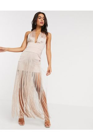 ASOS Halter fringe maxi dress-Pink