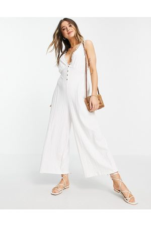 ASOS Ženy Overaly dlouhé - Button front lace trim swing jumpsuit in white