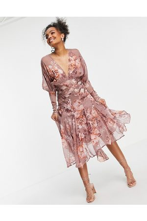 ASOS Floral midi dress with pleated satin detail-Pink