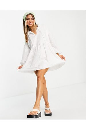ASOS Broderie smock mini dress in white