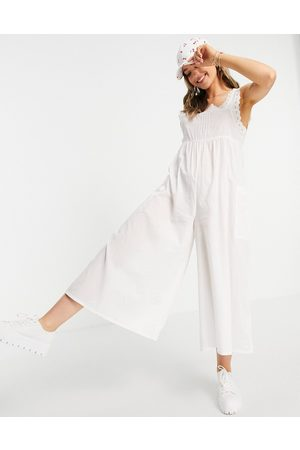 ASOS Broderie trim jumpsuit in white