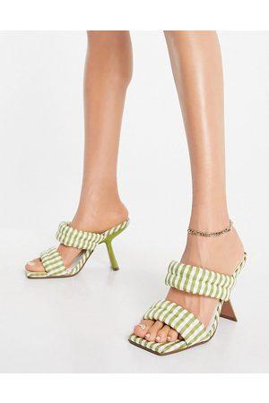 ASOS Nadalie padded heeled mules in green gingham