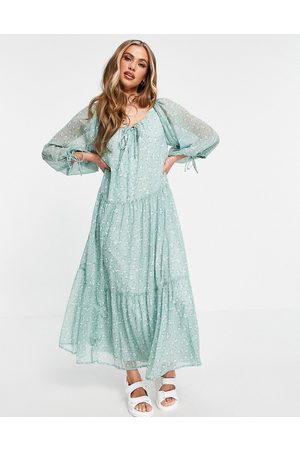ASOS Soft tiered maxi dress in sage ditsy print-Multi