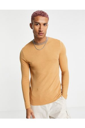 ASOS Muscle fit t-shirt with contrast ringer in beige-Neutral