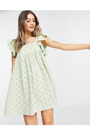 ASOS DESIGN Broderie babydoll mini dress with square neck and short frill sleeve in sage green