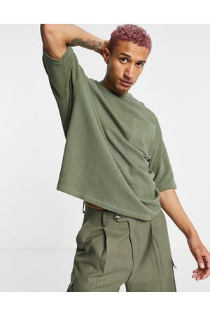 ASOS Oversized t-shirt in olive heavyweight textured jersey-Green