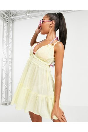 ASOS Tiered skinny tie beach dress in yellow