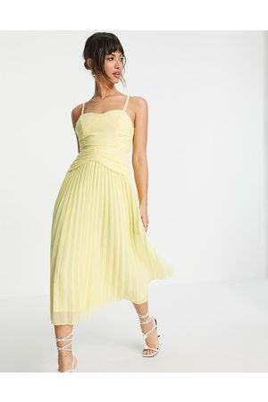 ASOS DESIGN Cupped pleated midi cami dress in lemon yellow