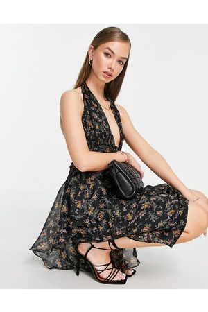 ASOS Ženy S potiskem - Button through ruched midi dress with soft ruffle detail in dark based floral print-Multi