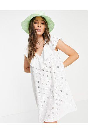 ASOS Broderie v frill over layer dress in white