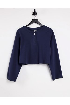 & OTHER STORIES Organic cotton co-ord long sleeve lounge top in navy