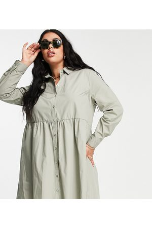 ASOS ASOS DESIGN Curve cotton mini smock shirt dress in khaki-Green