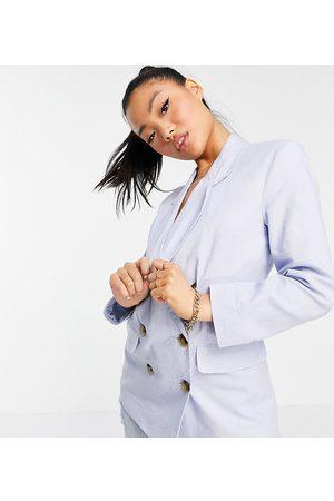 ASOS Ženy Saka - ASOS DESIGN Petite clean double breasted linen suit blazer in blue