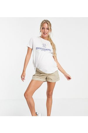ASOS ASOS DESIGN Maternity chino short with under the bump waistband in stone-Neutral