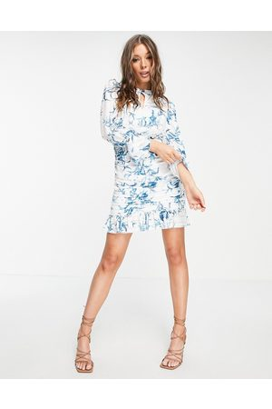 Lipsy London Printed ruched mini dress-Multi