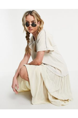 Free People Ženy Volnočasové - Sun fade relaxed multi tiered dress in bleached neon-Pink