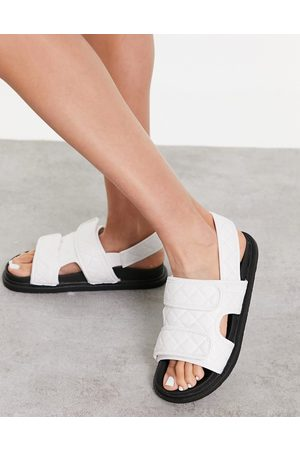 Truffle Collection Quilted double strap flat sandals in white