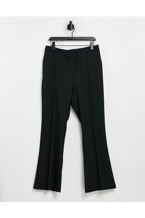 Pimkie Ženy Široké nohavice - Stepped waistband flare trouser in black