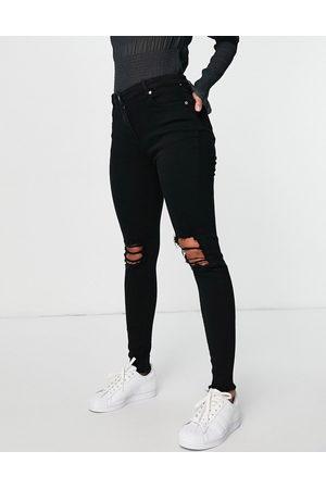 Parisian Ženy S vysokým pasem - Skinny jeans with ripped knee in black