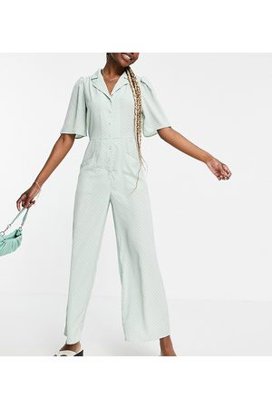 Y.A.S Tall Y.A.S. Tall button front wide leg jumpsuit in sage-Green