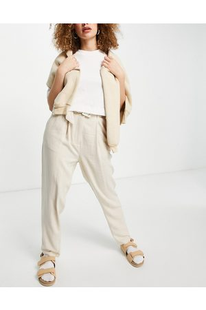 Object Ženy Legíny - Tappered trouser with self belt in stone-Neutral