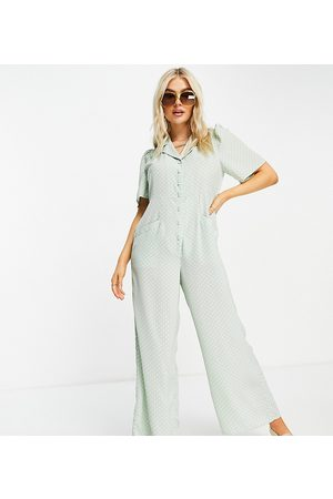 Y.A.S Ženy Overaly dlouhé - Y.A.S. Petite button front wide leg jumpsuit in sage-Green
