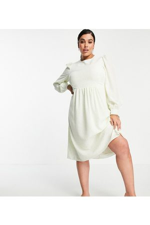 Fashion Union Ženy Volnočasové - Midi smock dress with balloon sleeves in lime floral-Green