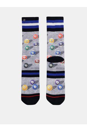 Xpooos Muži Ponožky - Šedé pánské vzorované ponožky