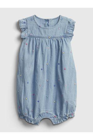 GAP Modrý holčičí baby overal shortie - emb dot dnm