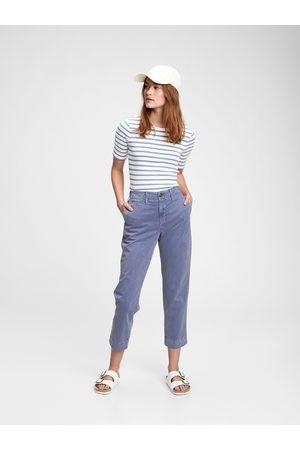 GAP Ženy Rovné nohavice - Modré dámské kalhoty high rise straight khaki