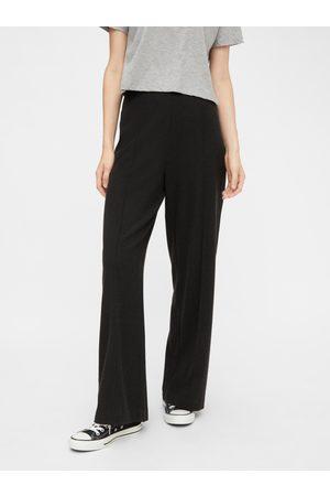 Pieces Tmavě šedé široké kalhoty