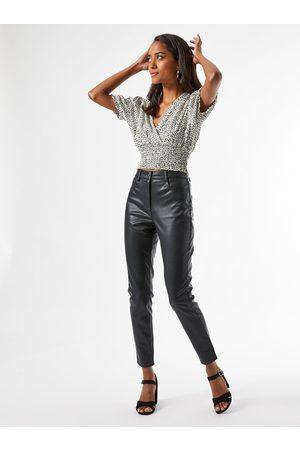 Dorothy Perkins Černé koženkové kalhoty