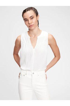 GAP Bílý dámský top sleeveless gauze