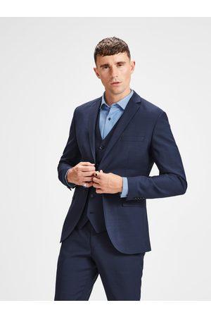 JACK & JONES Tmavě modré oblekové sako s příměsí vlny Laris