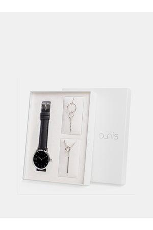 A-NIS Sada dámského náramku, náhrdelníku a hodinek s černým koženým páskem